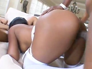 Ebony threesome with two slutty MILFs