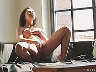 Winsome Latina girl Ria Rodrigez slowly undresses being in the mood to finger own cunny
