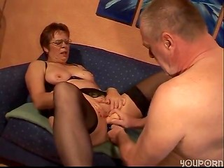 Horny old granny in stockings gets her pussy stuffed with dildo