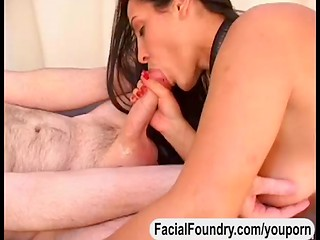 Hand, blow and titjob from nasty brunette