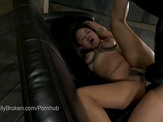Tied up girl gets ass fucked roughly