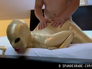 Chick in spandex wear gets drilled in doggy position