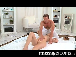 Young Violette gets her shaved cunny creamed by masseur