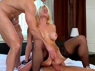 Two cum loads for horny blonde