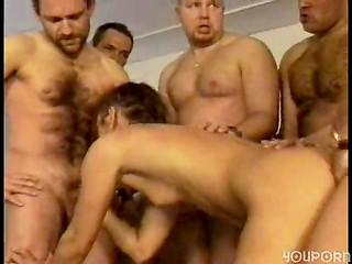 MILF slut getting gangbanged and cummed on multiple times
