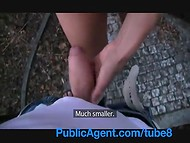 Tall brunette girl got fucked by a skilled fake agent in the park for some cash