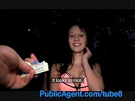 Amateur brunette teen got paid for a quick fuck near the river by a public agent