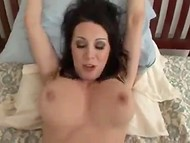 Flawless brunette MILF with big tits tried to not get creampied, but her pal decided differently  11