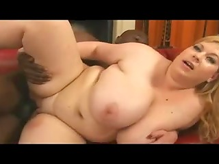 Blonde BBW with great titties and amazing belly loves BBC drilling her in her favourite sex positions