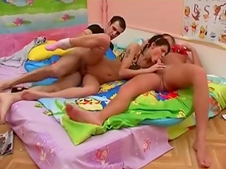 Experienced brunette whore gets her sweet holes penetrated by two handsome boys