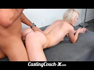 Talented blonde cutie came on the casting to show her sexual skills in front of the camera