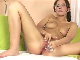 Brunette fingers her wet twat and mastrubates with dildo