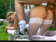Fascinating young girl in white stockings was roughly pounded at the backyard