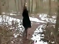 Classy MILF presented awesome blowjob and handjob for two mature men in the middle of the forest  4
