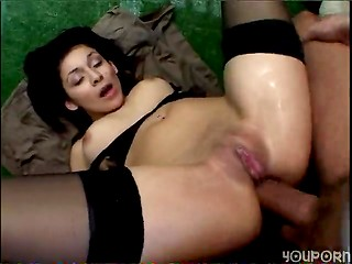 Nice brunette gets her ass plugged with cock