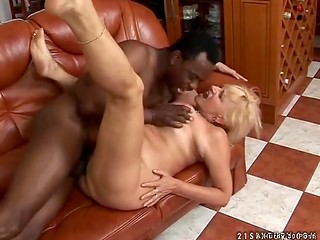 Busty blonde granny realizes her old dream getting banged by black man with huge cock