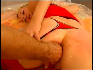 Dirty asshole of the blonde Estonian bitch gets fingered hard by male fingers