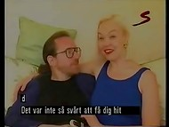Blonde Swedish MILF presented her boarded man with glasses a perfect handjob in the amateur scene