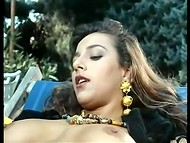 Tanned gardener wildly banged unshaved vagina of his long-haired courtesan among the trees in the vintage scene