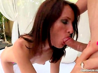 Skinny Romanian babe lets this cock enter her after a blowjob, which makes it hard and wet