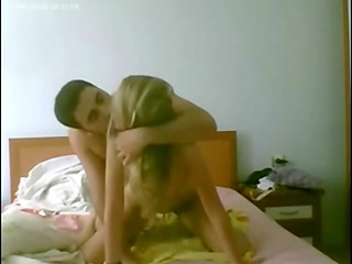 Turkish guy fucks pretty chick with blonde hair on bed
