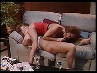 Seductive curly-haired coquette bounces ardently on the horny husband's prick