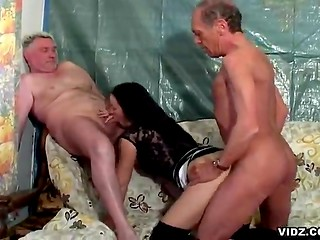 Two nasty old men fuck young brunette waitress