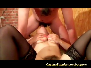 Dark-haired lady with very hairy muff takes cock in ass