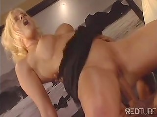 Hot blonde secretary with shaved pussy sat on strong cock of her chief in the office