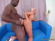 Magnificent blonde woman permitted her dark-skinned lover to fuck her pusshole
