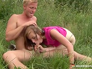 Amateur porn video with young blonde guy and nice teen whore having sex outdoors 5