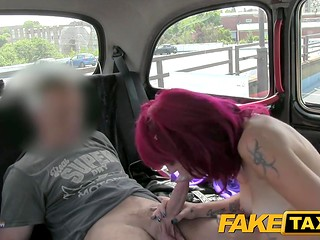 Fake taxi: tattooed girl with pink hair having sex with taxi driver
