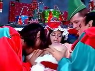 Seductive MILF in Santa's costume fulfilled every cherished wish of three naughty fellows