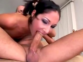 Dark-haired pornstar Isabella Pacino gets double-penetrated by the passionate guys in the free porn video
