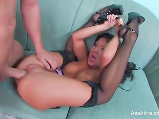 Bald guy facialized his Asian beauty Asa Akira in black stockings after a deepthroat blowjob