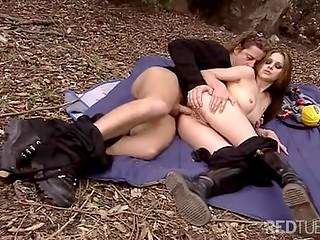 Nice young couple decided to have crazy outdoor sex in the nearest park to be closer to nature