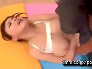 Young Japanese Anna Natsuki in tight leggings had spontaneous sex with electrician after yoga classes