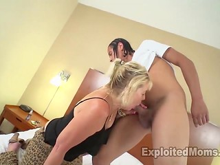 Experienced bright-haired woman with small tits was pounded hardly by Ebony guy
