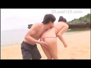 Japanese busty pornstar Yuuri Himeno gets banged on the deserted beach