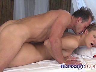 Pretty Samantha gets fingered until she cums then pounded by masseur in parlor