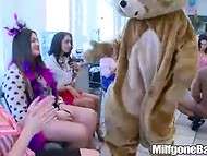 Two muscled guys are very lucky to receive a lot of blowjobs on the female party 3