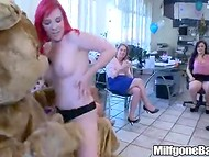 Two muscled guys are very lucky to receive a lot of blowjobs on the female party 4