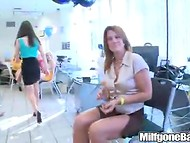 Two muscled guys are very lucky to receive a lot of blowjobs on the female party 9