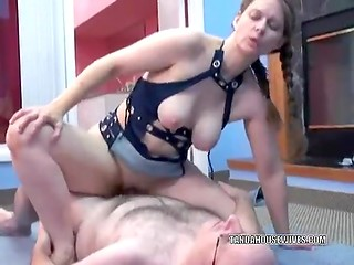 Chubby young chick with pretty pigtails and natural tits sucks dick and gets her pussy fucked
