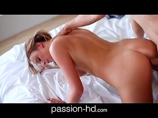 Pretty blonde babe lets her husband fuck her pussy and cover her sexy face with fresh cum