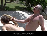 Beautiful gal with tight body was pounded passionately by an old man in the fresh air