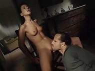 Brunette screaming in pleasure jumping on cock 6