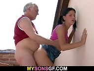 Gray-haired man with sunglasses pounded the young brunette with pigtails on the balcony