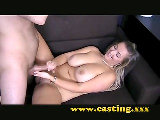 Fake Casting scene with delicious blonde MILF, her huge melons and gentle hands