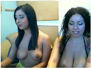 Two beautiful Latina babes kneading their wonderful boobies in front of the webcam